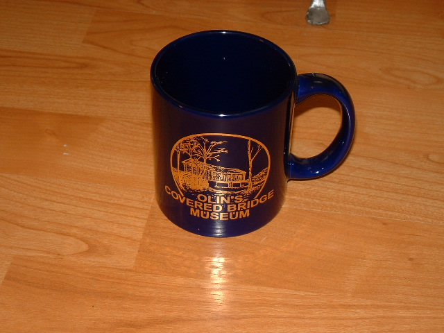 Blue and Gold Leaf Mug with Olin's Covered Bridge Museum Logo